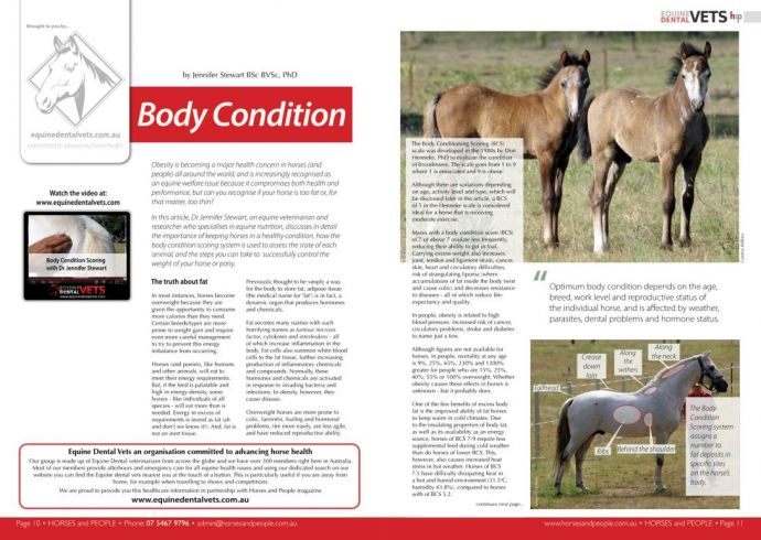 Body Condition Scoring for Horses